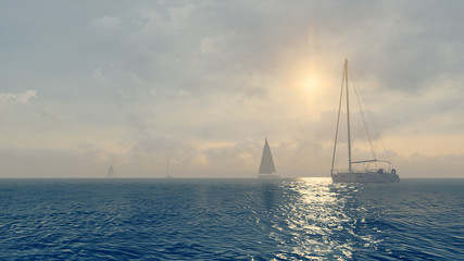 Several yachts in the open sea at daytime