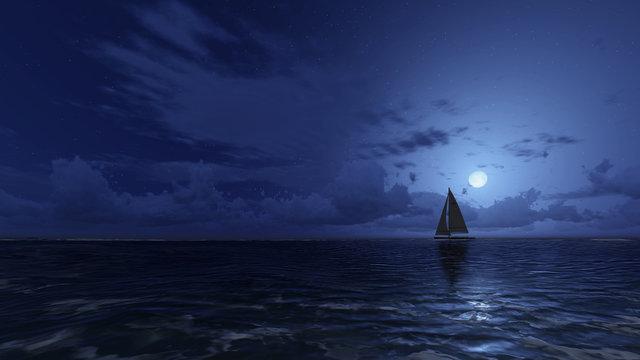 Sailboat in the night ocean