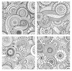 Set of seamless pattern with flowers. Ornate zentangle textures.