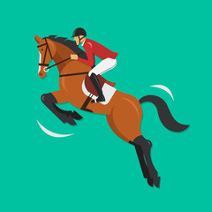 Show Jumping Horse with jockey, Equestrian sport