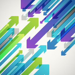 Abstract vector background of different color arrows. Design con