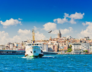 Fototapete - Cityscape with Galata Tower over the Golden Horn in Istanbul