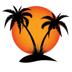 Wall Mural - Palm trees silhouette with sun on tropical island