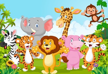 Cartoon collection animal africa in the jungle