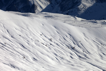 Top view on off-piste slope at evening