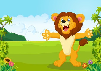 Spoed Foto op Canvas Lieveheersbeestjes Cartoon happy lion