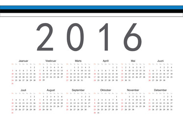 Estonian 2016 year vector calendar