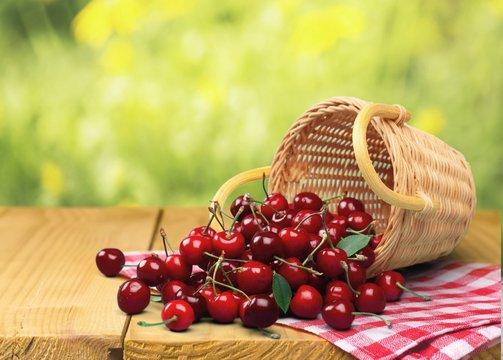 Cherry, Basket, Fruit.