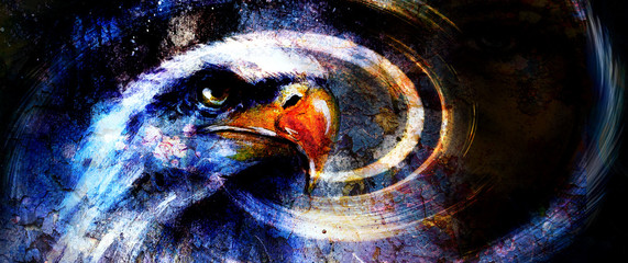 painting  eagle on an abstract background, with crackle structur