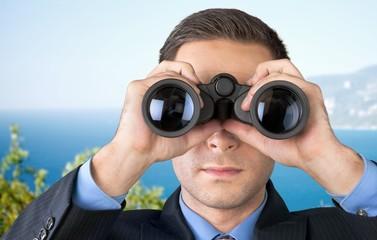 Binoculars, Surveillance, Business.
