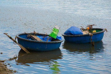 Traditional Vietnamese boat in the basket shaped , Phan Thiet, Vietnam