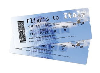 "Airline boarding pass tickets to ""Italy"" isolated on white."