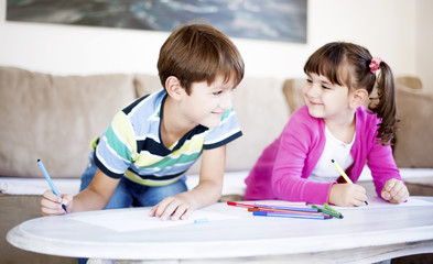 Brother and sister playing, Children drawing