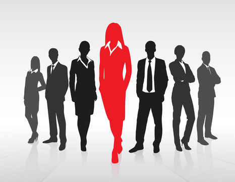 Red Businesswoman Silhouette, Black Business People Group Team