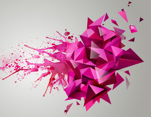 Geometric pink abstract banner. Modern triangular formed by artistic blots.