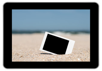 Blank Instant Photo On Beach Sand In Summer On Modern Tablet