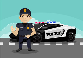 Police stop vector flat illustration