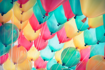 colorful balloons with happy celebration party background Wall mural