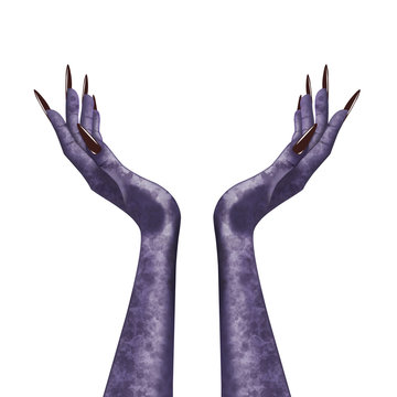Isolated monstrous scary evil witch hands with long claws illustration.