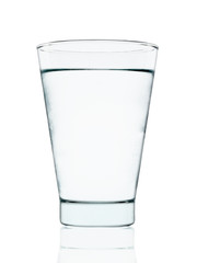 Cool water with glass isolated on the white background