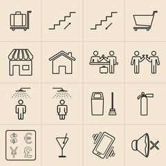 Exhibition line icons set