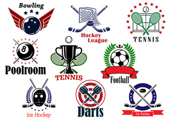 Sports team graphic emblems and banners set