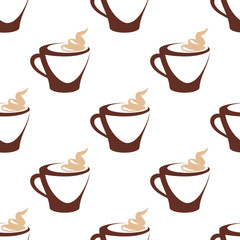 Seamless pattern of coffee cup with cream