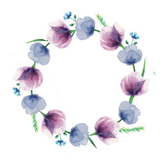 watercolor violet flowers wreath