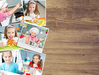 background of the photos  girl on the kitchen