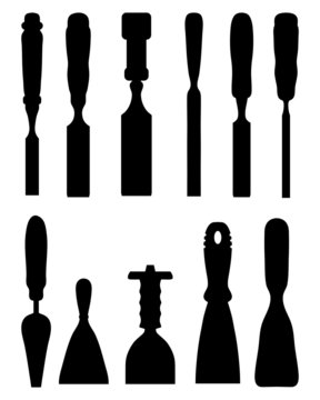 Silhouettes of  chisels, vector
