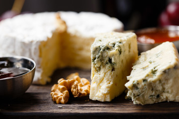 Plate of french cheeses close-up