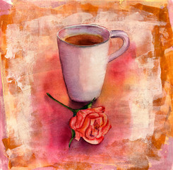 Watercolor cup of tea with tea rose on colorful artistic background