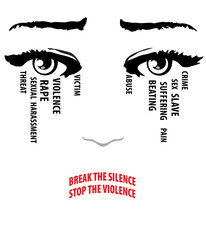 Woman cries, eyes with tears. Break the silence, stop the violence words form her lips. Stop violence against women concept.
