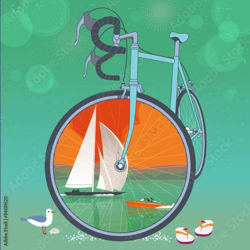 Front wheel of bicycle is a picture frame for colorful summer ...