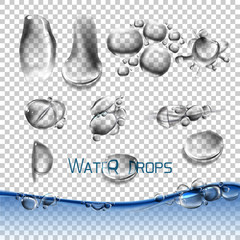 Vector set water drops, transparent, suitable for any background set with shadow and without different species, an example of using.