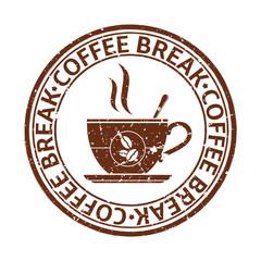 Coffee break grunge stamp