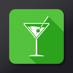 Martini flat icon with long shadow