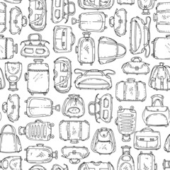 Vector seamless pattern with hand drawn suitcases and bags on white background. Background for use in design, web site, packing, textile, fabric