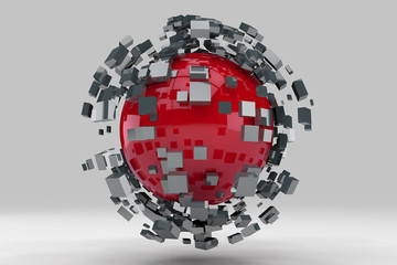 Explosion of sphere into smaller pieces. 3D render image.