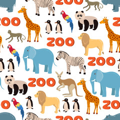 Vector seamless pattern on the theme of zoo with funny animals on white background. Background for use in design, web site, packing, textile, fabric
