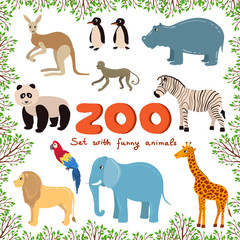 Vector set on the theme of zoo with funny animals. Sketches for use in design