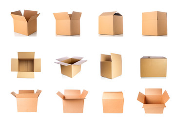 Set of cardboard boxes on white background