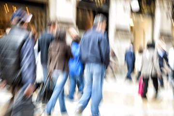 Blurred pedestrian, zoom effect