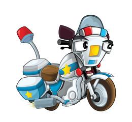 Cartoon motorcycle - caticature - illustration