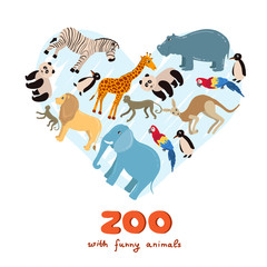 Stylized heart on the theme of zoo with funny animals on white background. Vector for use in design