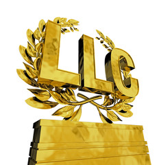 LLC. in golden letters at podest with laurel wreath