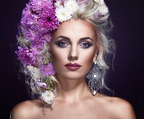 beauty foto of a woman with flowers in hair, art fantasy portrait