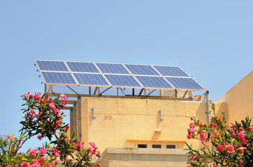 solar cells on private home in Malta, Souther Europe