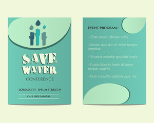 Save water conference flyer and poster invitation template with