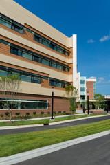 Modern medical center buildings